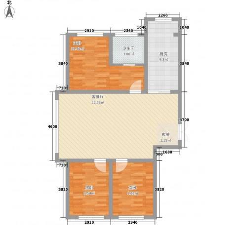 龙泰富苑3室1厅1卫1厨79.20㎡户型图