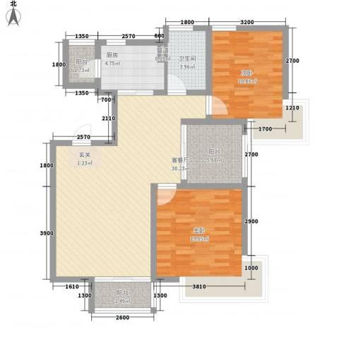 星尚国际公寓2室1厅1卫1厨72.83㎡户型图