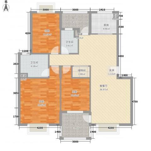 汉口春天3室1厅2卫1厨150.00㎡户型图