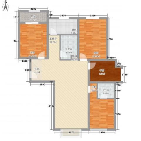 青川嘉园4室1厅2卫1厨142.00㎡户型图