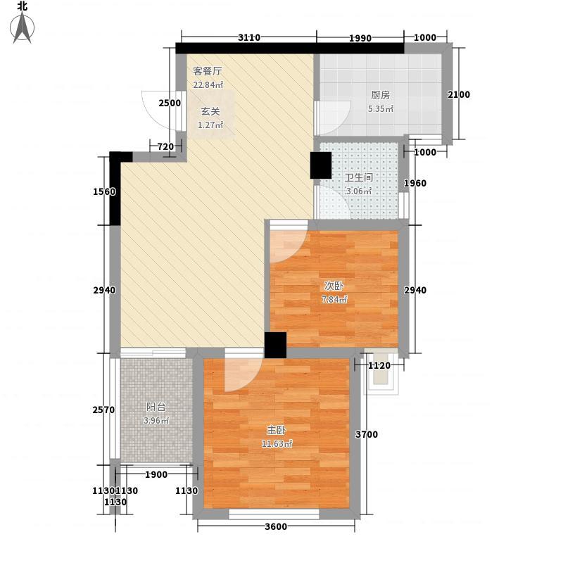 荣耀华西馨园74.00㎡B户型2室2厅1卫1厨