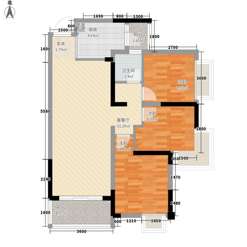 中港ccpark1、8、9、10栋B1型标准层户型3室2厅1卫1厨