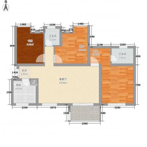 中铁・缇香郡3室1厅2卫1厨100.00㎡户型图