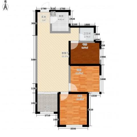 中铁・缇香郡3室1厅1卫1厨114.00㎡户型图