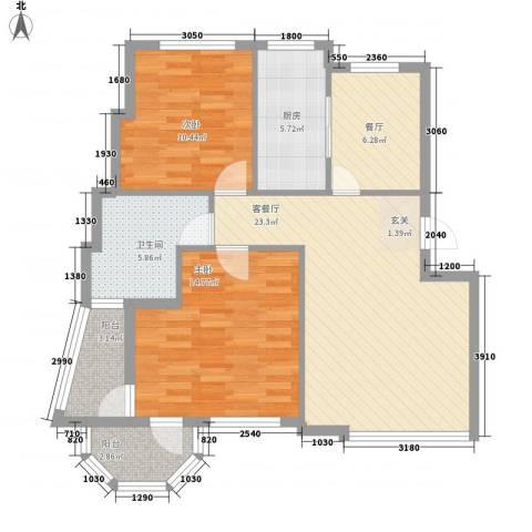 鑫馨佳园2室2厅1卫1厨95.00㎡户型图