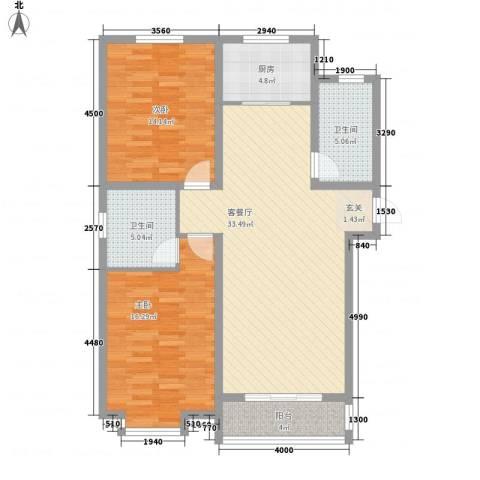 欧风花园2室1厅2卫1厨83.00㎡户型图