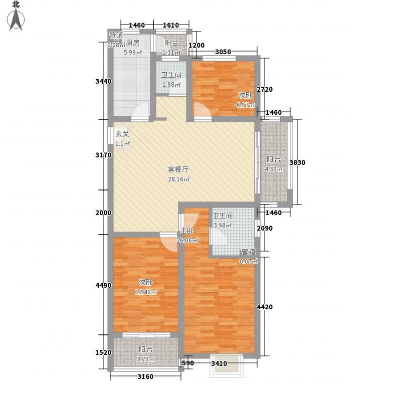 英莱达启发城124.00㎡F1户型3室2厅2卫