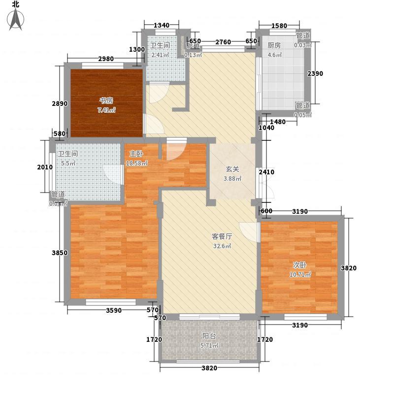 泰丰半岛悦城125.00㎡1号楼东西首3、5、6号楼标准层B户型3室2厅2卫1厨