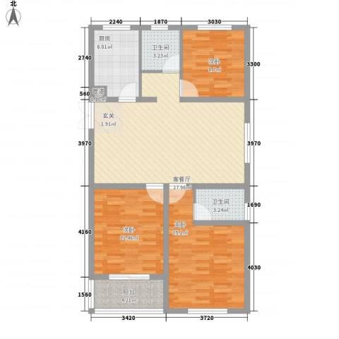 香梅假日花园三期3室1厅2卫1厨116.00㎡户型图