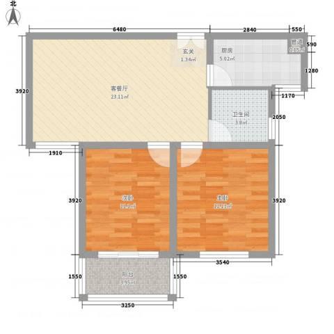 香梅假日花园三期2室1厅1卫1厨85.00㎡户型图