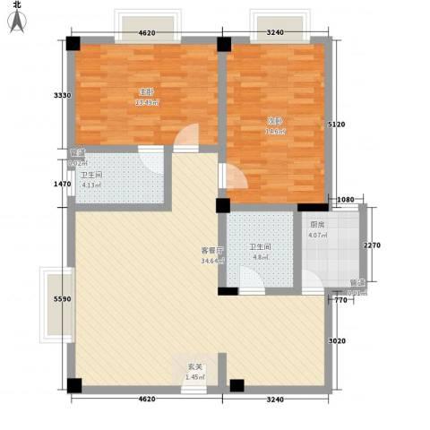大唐龙庭(大唐智能花园三期)2室1厅2卫1厨75.77㎡户型图