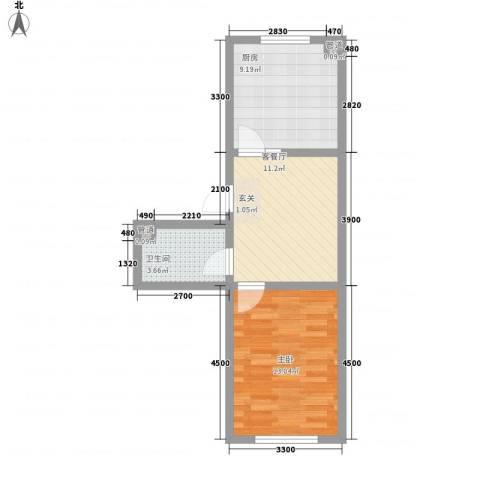 西湖花园1室1厅1卫1厨54.00㎡户型图