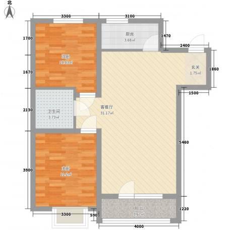 中国铁建梧桐苑2室1厅1卫1厨91.00㎡户型图