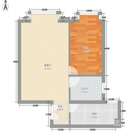 当代名筑1室1厅1卫1厨48.61㎡户型图