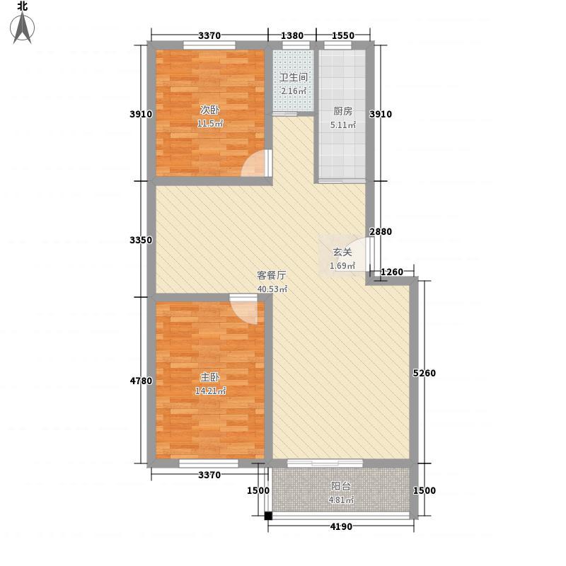 富春江新华苑111.00㎡一期多层F户型2室2厅1卫1厨