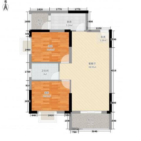 瘦西湖新苑2室1厅1卫1厨93.00㎡户型图