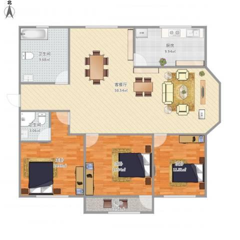 中泰世纪广场3室1厅2卫1厨158.00㎡户型图