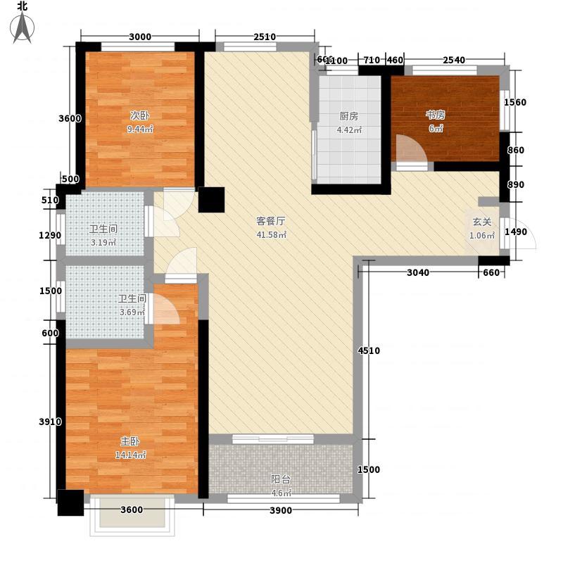 千禧城118.00㎡户型3室2厅2卫1厨