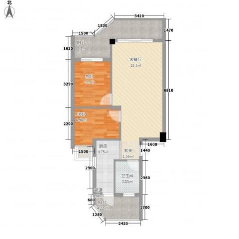 橄榄园2室1厅1卫1厨58.99㎡户型图