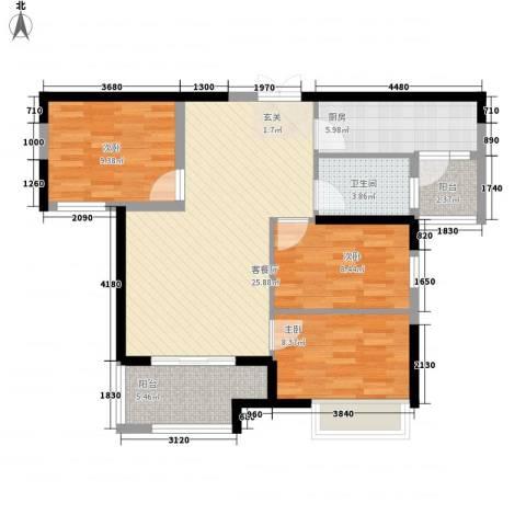 惠天然梅岭国际3室1厅1卫1厨99.00㎡户型图