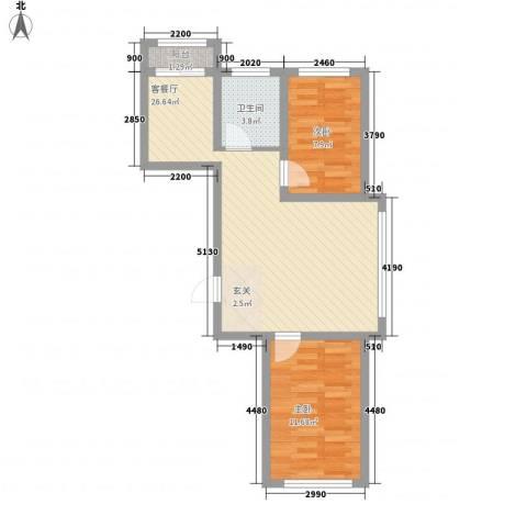 龙泰富苑2室1厅1卫0厨74.00㎡户型图