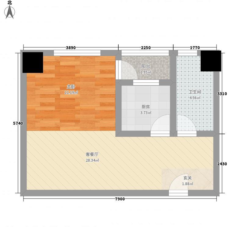 创世纪广场53.00㎡户型1室