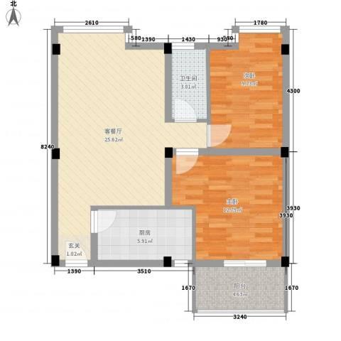 月亮湾亲水嘉园2室1厅1卫1厨88.00㎡户型图