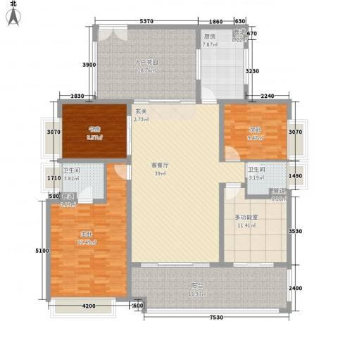 珠光御景湾3室1厅2卫1厨142.07㎡户型图