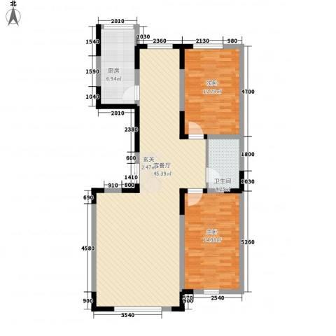 龙泰富苑2室1厅1卫1厨114.00㎡户型图