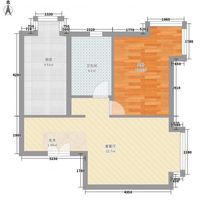 当代名筑74.10㎡16号楼A1户型1室2厅1卫1厨