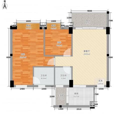 碧翠华庭2室1厅2卫1厨88.00㎡户型图