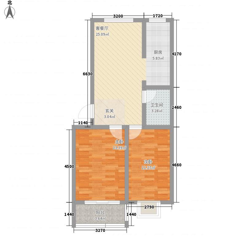 滨海嘉园2111户型2室1厅1卫1厨