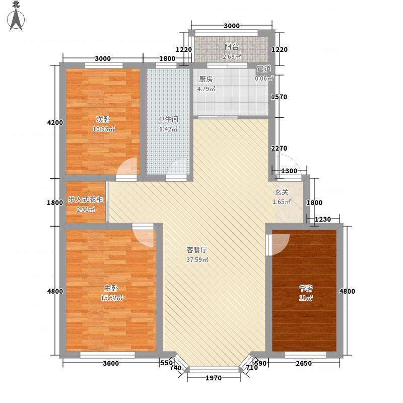华泰世纪新城116.53㎡二期J1户型3室2厅1卫