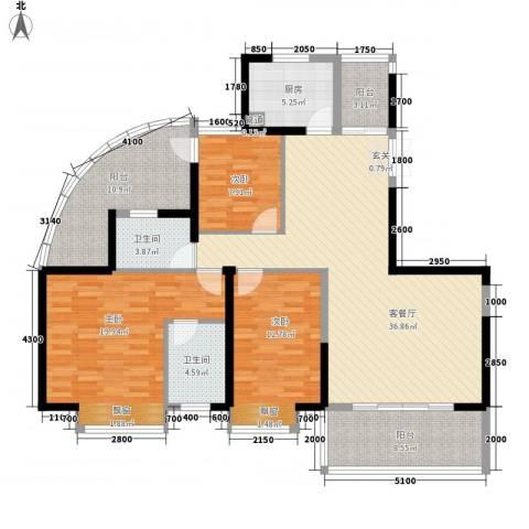 盛世华府3室1厅2卫1厨156.00㎡户型图