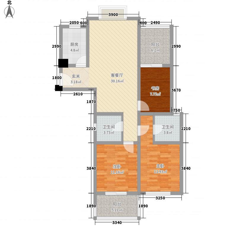望湖名门125.00㎡R户型3室2厅2卫