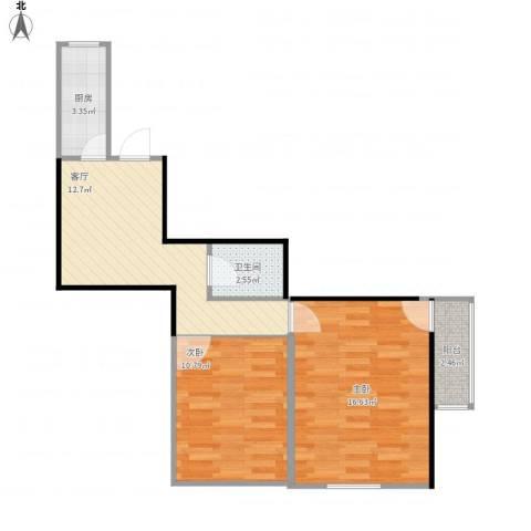 永乐小区2室1厅1卫1厨66.00㎡户型图