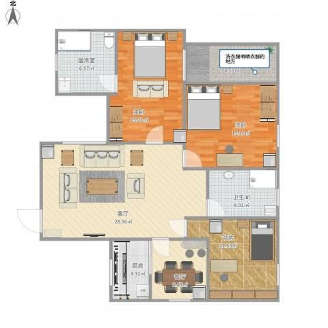 紫荆花园3室3厅1卫1厨136.00㎡户型图