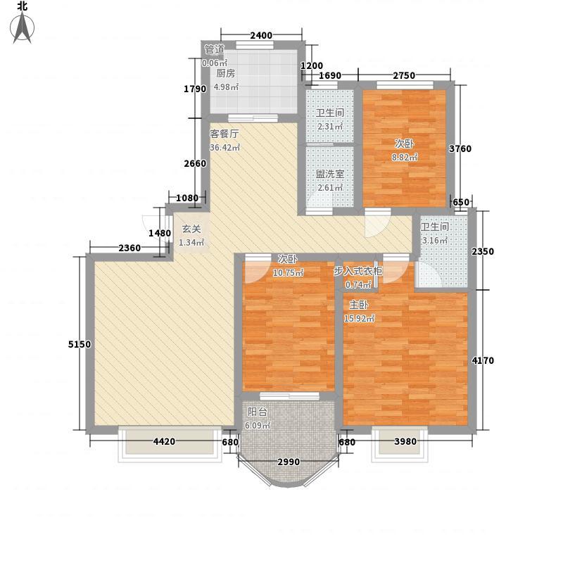 龙泰御花园137.81㎡2#B户型3室2厅2卫1厨