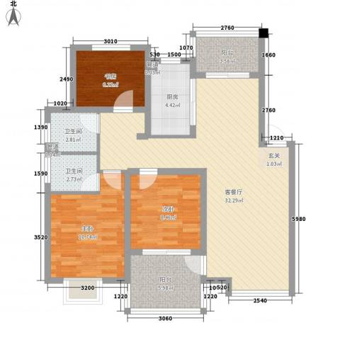 胥香园3室1厅2卫1厨112.00㎡户型图