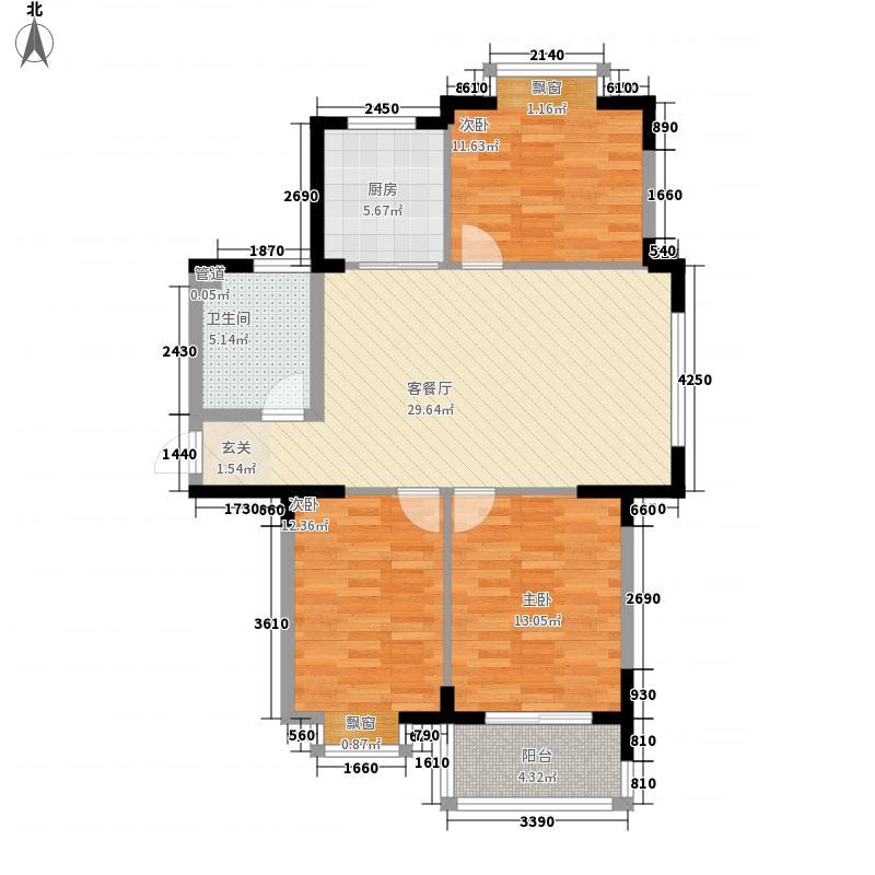玫瑰国际115.00㎡K户型3室2厅1卫1厨