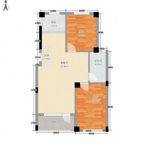 心海阳光2室1厅1卫1厨82.00㎡户型图