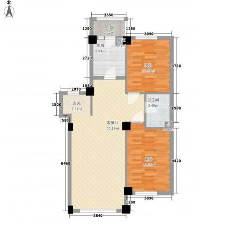 东城宜家2室1厅1卫1厨66.93㎡户型图