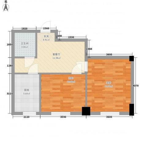 东城宜家2室1厅1卫1厨62.00㎡户型图