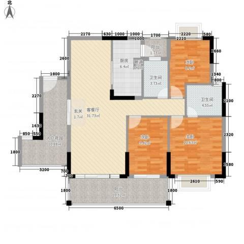 大信新家园3室1厅2卫1厨99.79㎡户型图