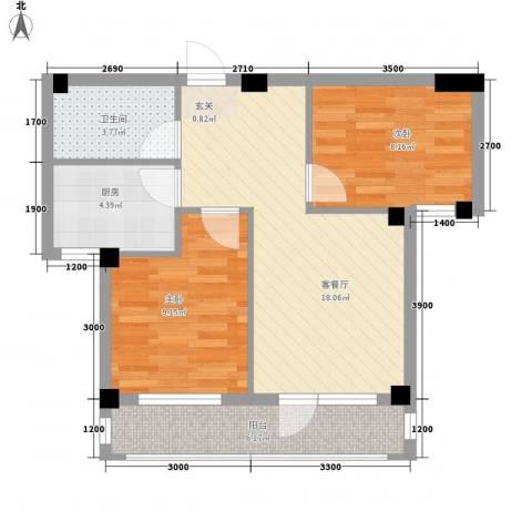 心海阳光2室1厅1卫1厨68.00㎡户型图
