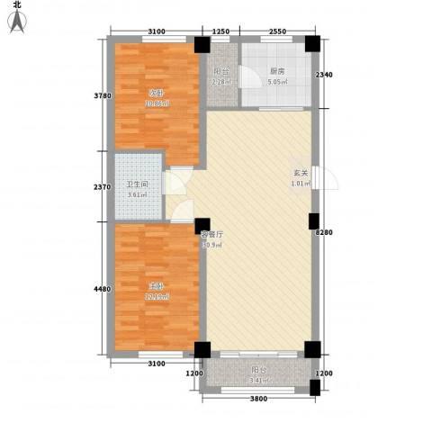 东城宜家2室1厅1卫1厨68.31㎡户型图
