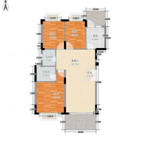 大信新家园3室1厅2卫1厨131.00㎡户型图