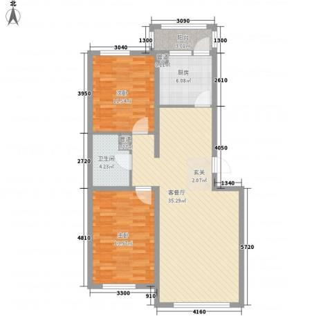 咱家2室1厅1卫1厨74.51㎡户型图
