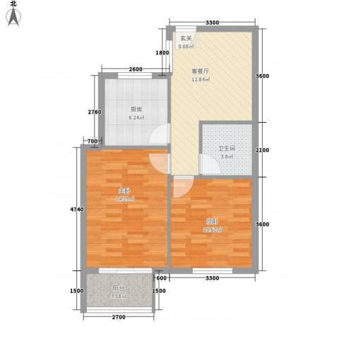 城市之星2室1厅1卫1厨72.00㎡户型图