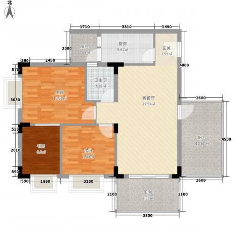 大信新家园3室1厅1卫1厨121.00㎡户型图